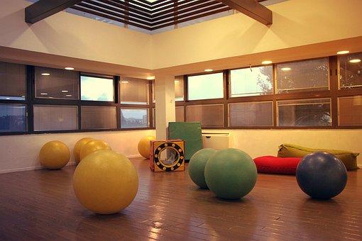 Gymboree, Hall, Balls, Big, Light, Empty, Room, Fitness