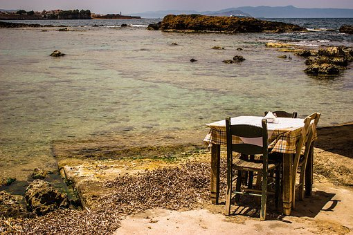 Chania, Greece, Table, Taverna, Crete, By The Sea