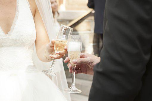 Champagne Toss, Champagne, Bride, Groom
