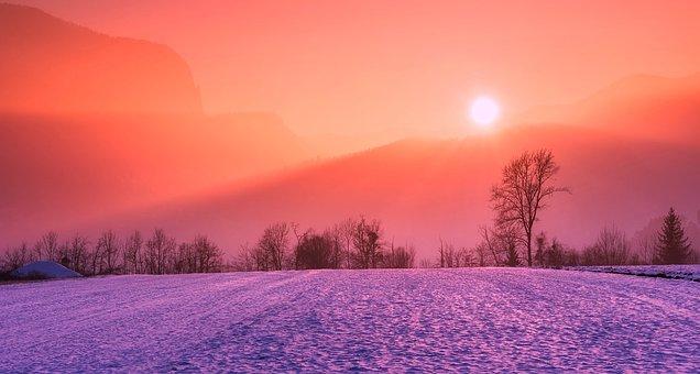Winter, Snow, Sunrise, Sunset, Colors, Colorful