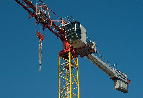 Crane, Site, Building, Lifting, Pulleys