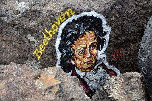 Beethoven, Art, Stone, Grafiti, Artwork, Face, Head