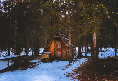 Winter, Snow, Landscape, Hut, Shed, Forest, Trees