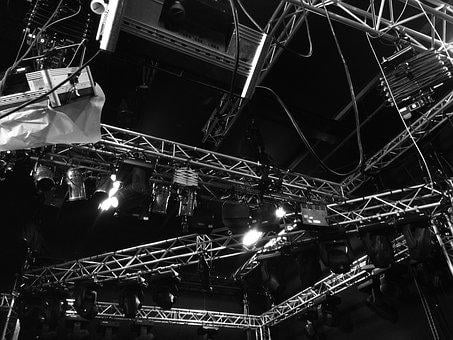Light, Rig, Black And White, Equipment, Industrial
