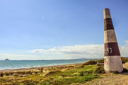 Cone, Delimited, Sign, Concrete, Beach, Landscape