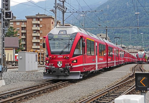 Departure In Tirano, North Italy, Bernina Railway