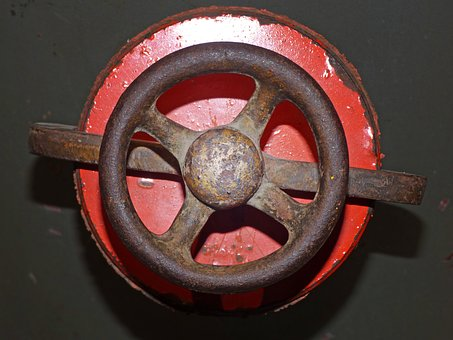 Valve, Crank, Mechanism, Open, Iron, Old, Machinery