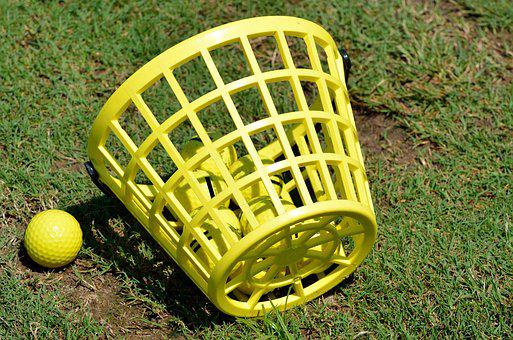 Golf Ball, Basket, Driving Range, Practice, Ball, Golf