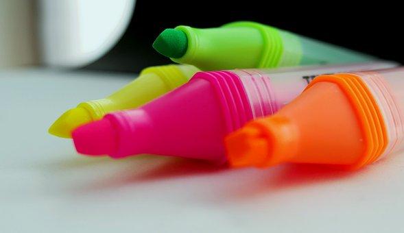 Marker, Highlighter, Mark, Office Supplies, Felter