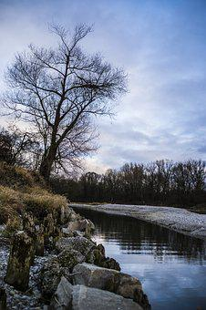 Isar, Tree, Sky, Clouds, Nature, River, Tourism, Water