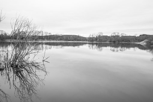 Black White, Monochrome, Lake, Water, Nature, View