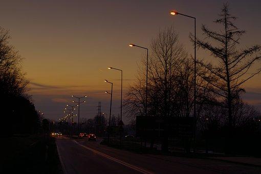 Street, Lamp, Lighting, Cars, Night, Twilight, Evening