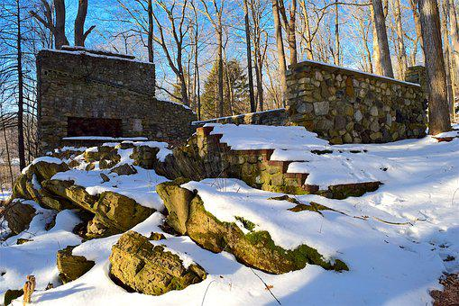 Stone Structure, Snow, Winter, Sunlight, Abandoned