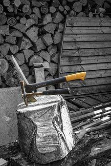 Woodcutter, Axe, Tool, Wood, Cut, Design, Colour Splash