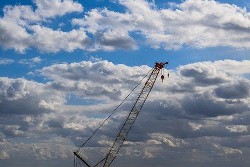 Crane, Sky, Clouds, Construction, Development
