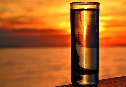 Seascape, Sunset, Glass By The Sea, Water Glass