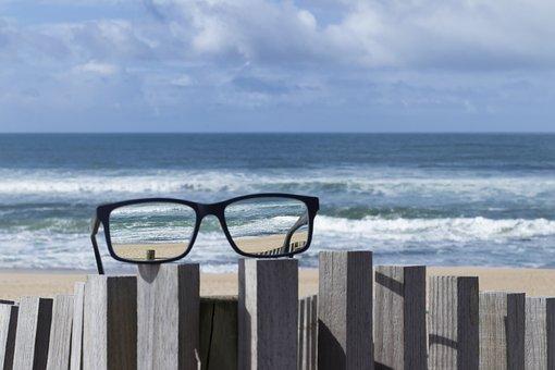 Glasses, Eyeglasses, Beach, Mar, Beira Mar, Seascape