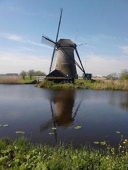 Mill, Netherlands, Kinderdijk, River, Reflection