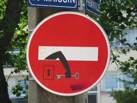 Panel, Street, Logo, No Entry