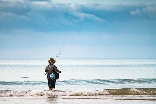 Fisherman, Ocean, Female, Woman, Fishing, Water, Sea
