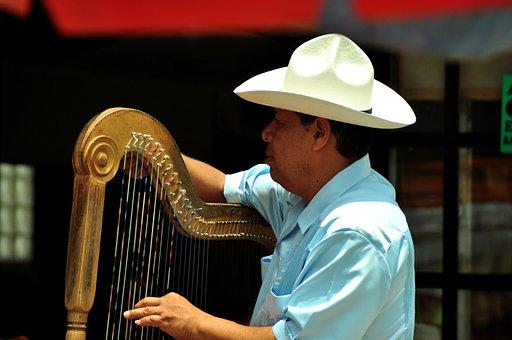Musician, Harp, Puebla, Mexico, Music, Instrument