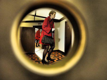 By Looking, Peephole, Woman, Voyeur, Key Hole, Red
