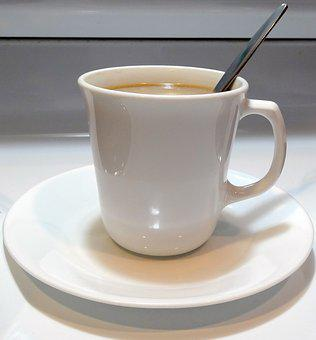 Coffee Cup, Coffee, Spoon And Cup, White Cup