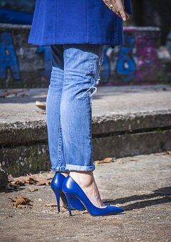 Lady, Apron, Gin, Shoes, Blue, Heel, Color, Woman, Pump