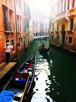 Venice, Gondola, Channel, Water, Homes, Water Channel
