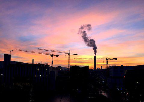 Morgenrot, Sky, Cranes, Fireplace, Eat