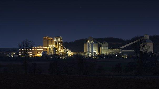 Göllheim, At Night, Dyckerhoff, Concrete, Factory