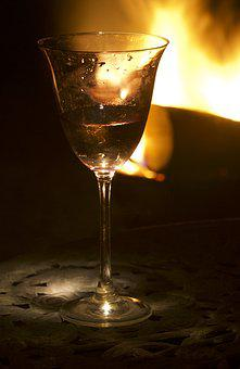 Glass, Summer, Evening, Log Fire, Light, Drink, Wine