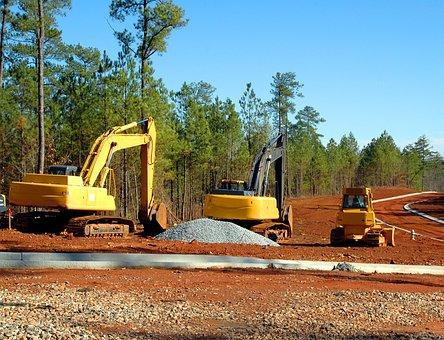 Construction Site, Bulldozer, Backhoe, Heavy Equipment