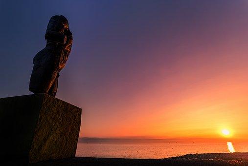 Sculpture, Sunset, Lake Constance, Artwork, Strength