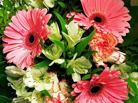 Bouquet, Flowers, Bouquet Of Flowers, Roses, Pink, Vase