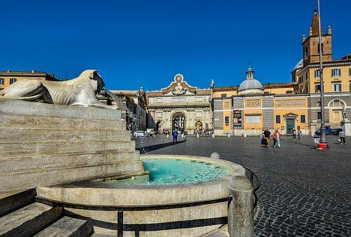 Piazza, Rome, Sculpture, Fountain, Italian, Square