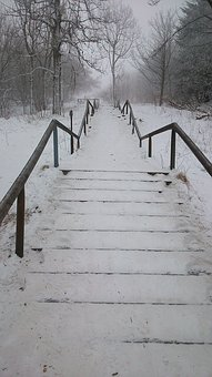 Stairs, Snowy, Winter, Nature, Landscape, White