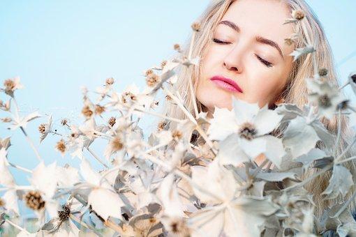 Sun Flowers, Girl, Woman, Portrait, Sky, Flowers