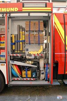 Dortmund, Fire Truck, Equipment, Red, Fire, Auto