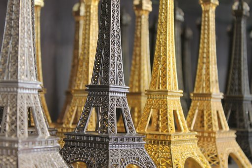 Paris, Eiffel Tower, Souvenirs, Statuette, Golden