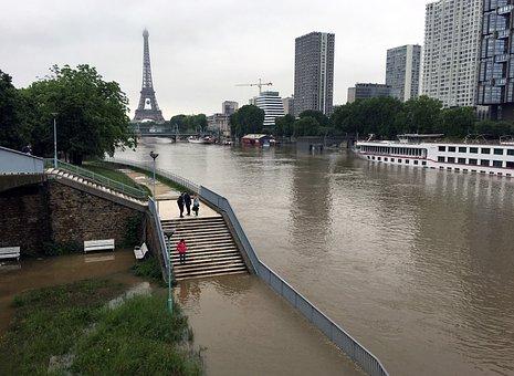 Flood, Seine, Paris, Water, Bridge, Heritage, The Seine