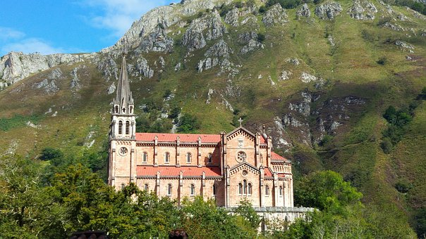 Asturias, Covadonga, Church, Picos De Europa, Mountains
