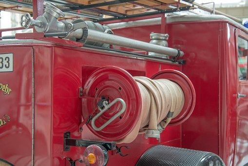 Fire, Fire Truck, Antique, Retro, Red, Auto, Oldtimer