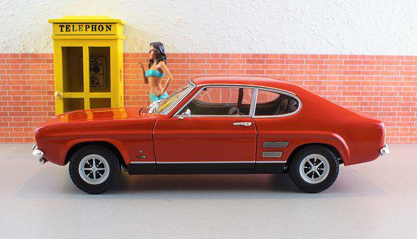 Model Car, Ford, Capri, Model, Diorama, Auto, Oldtimer