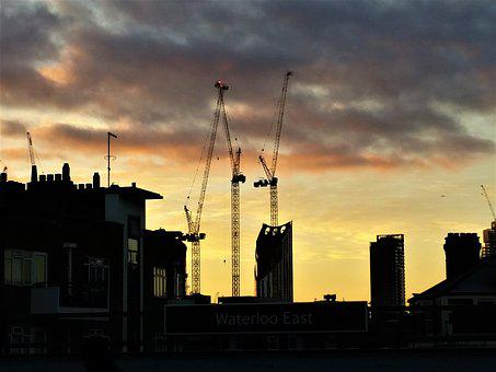 Sunrise, Cranes, London, Sky, Clouds, Construction