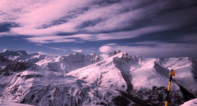 Sunset, Dusk, Panorama, France, Mountains, Winter, Snow