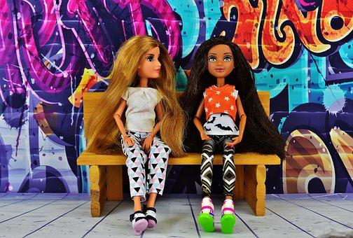 Girl, Friends, Friendship, Graffiti, Bank, Sitting