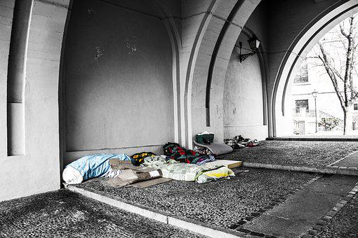 Homeless, Blankets, Charity, Poverty, Under A Bridge