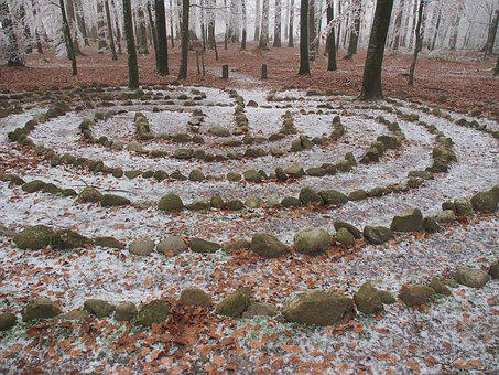 Forest, Winter Time, Labyrinth, Nature, Meditation