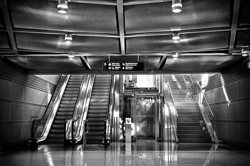 Stairs, Escalator, Elevator, Glass, Architecture, Metal